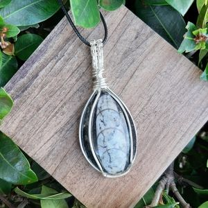 Orthoceras Fossil Silver Wire Wrapped Pendant